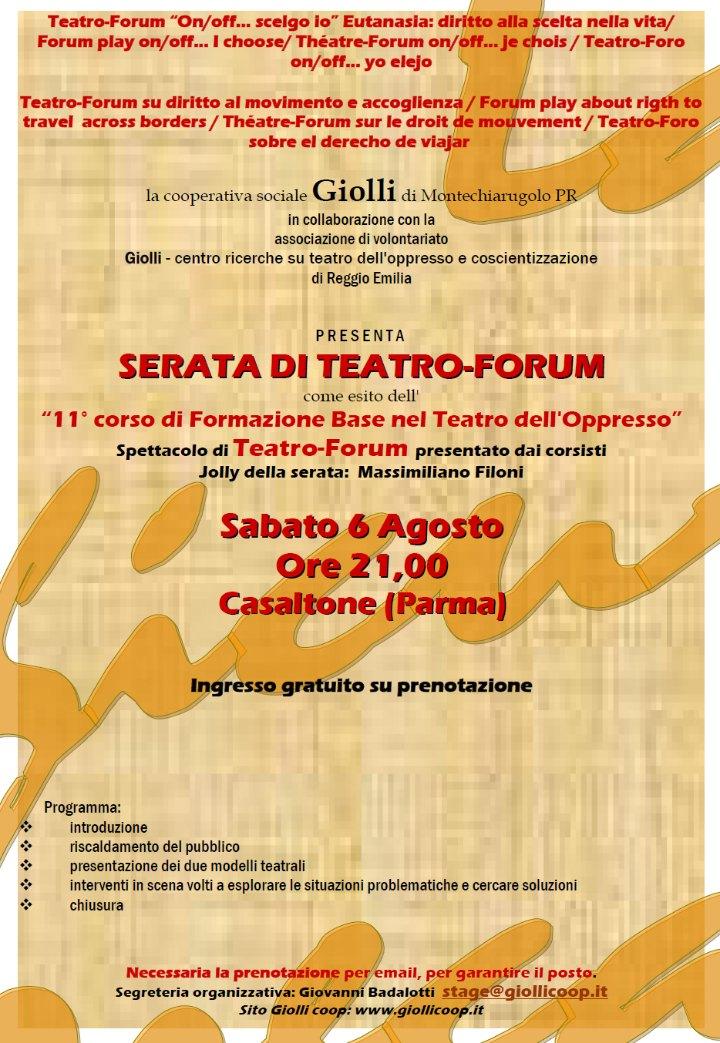 Teatro-Forum di fine corso su due temi sabato 6 agosto