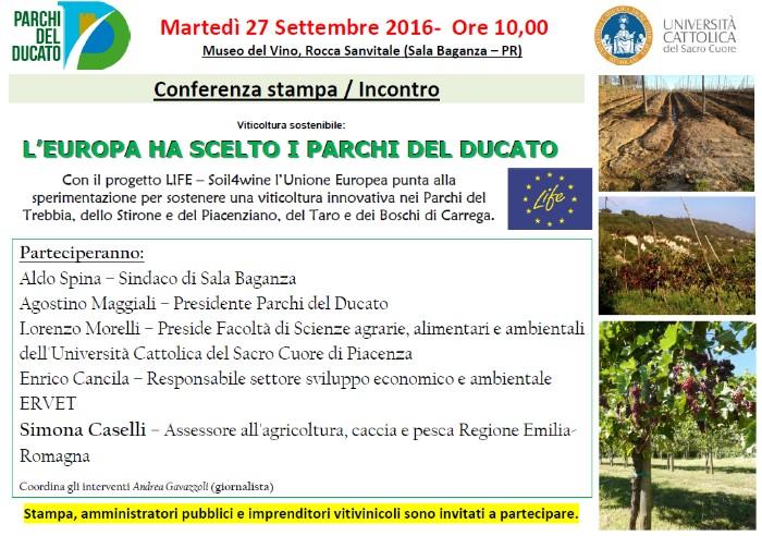 """conferenza Stampa presentazione Progetto LIFE """"Soil4wine"""" al Museo del Vino Sala Baganza"""