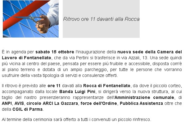 CGIL- 15 ottobre, inaugurazione nuova sede Camera del Lavoro di Fontanellato
