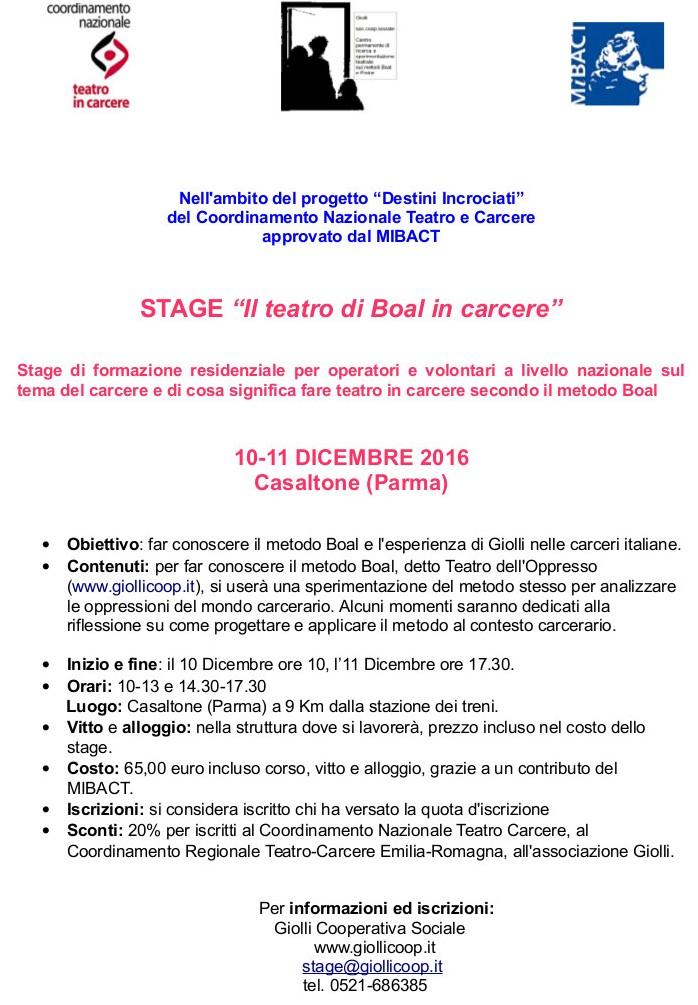 """Stage """"Il teatro di Boal in carcere"""" 10 e 11 Dicembre 2016 Casaltone (PR)"""