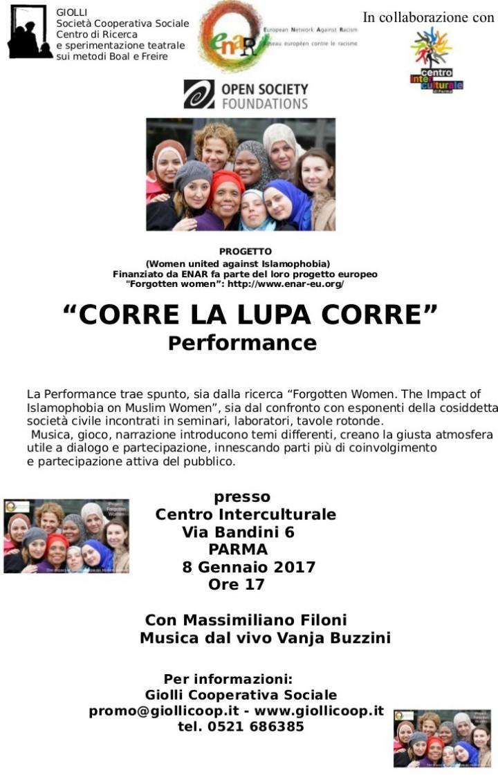 """(Parma) 8 Gennaio 2017 """"CORRE LA LUPA CORRE"""" Performance"""